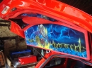 2009, 01 Airbrushed Iron Maiden Mural on fibreglass rear parcel shelf